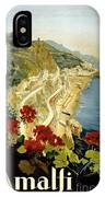 Amalfi Italy Italia Vintage Poster Restored IPhone Case
