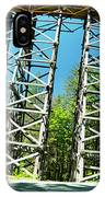 Amazing Kinsol Wooden Trestle Panorama View, Vancouver Island, Bc, Canada. IPhone Case