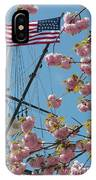 American Flag With Cherry Blossoms IPhone Case