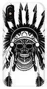American Indian Skull Icon Background, Black And White  IPhone Case