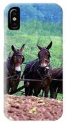 Amish Plowing The Fields With Mules IPhone Case
