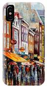 Amsterdam Rain - Palette Knife Oil Painting On Canvas By Leonid Afremov IPhone Case