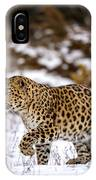Amur Leopard Walks In A Snowy Forest IPhone Case