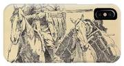 An Old Time Mountain Man With His Ponies IPhone X Case