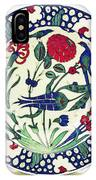 An Ottoman Iznik Style Floral Design Pottery Polychrome, By Adam Asar, No 1a IPhone Case