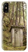 An Outhouse In A Moss Covered Forest IPhone Case