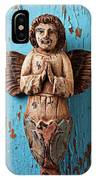 Angel On Blue Wooden Wall IPhone Case