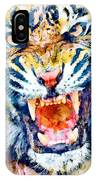 Angry Tiger Watercolor Close-up IPhone Case