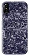 Antique French Pocket Map Of Paris Blueprint Style IPhone Case
