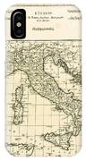 Antique Map Of Italy IPhone Case