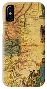 Antique Map Of Palestine 1856 On Worn Parchment IPhone Case