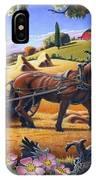 Raking Hay Field Rustic Country Farm Folk Art Landscape IPhone X Case