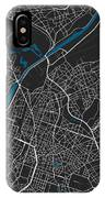 Brussels City Map Black Colour IPhone Case