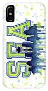 Seattle Watercolor 12th Man Art Painting Space Needle Go Seahawks IPhone Case