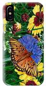Butterfly Wildflowers Garden Oil Painting Floral Green Blue Orange-2 IPhone Case