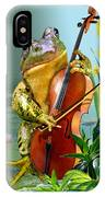 Humorous Scene Frog Playing Cello In Lily Pond IPhone Case