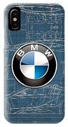 B M W 3 D Badge Over B M W I8 Blueprint  IPhone Case