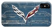 Chevrolet Corvette 3 D Badge Over Corvette C 6 Z R 1 Blueprint IPhone Case
