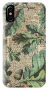 Oak Tree Leaves And Acorns, Autumn Dictionary Art IPhone Case
