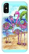 The Flamingo Family's Day At The Beach IPhone Case