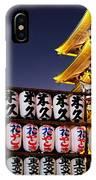 Asakusa Kannon Temple Pagoda And Lanterns At Night IPhone Case