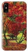 Autum Red Woodlands Painting IPhone Case