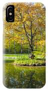 Autumn Landscape With Red Tree IPhone Case
