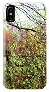Autumn Leaves Against A Fence IPhone Case