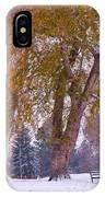Autumn Snow Park Bench   IPhone Case