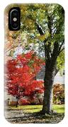 Autumn Street With Red Tree IPhone Case