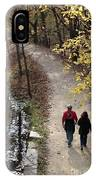Autumn Walk On The C And O Canal Towpath With Oil Painting Effect IPhone Case