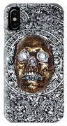 Aztec  Mayan Skull Warrior Calendar Relief Photo IPhone Case