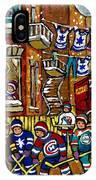 Backlane Snowy Winter Scene Hockey Game Verdun Alley Montreal Team Jerseys Canadian Art IPhone Case