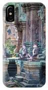 Banteay Srey Temple Pink Monkeys IPhone Case