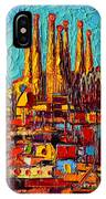 Barcelona Abstract Cityscape - Sagrada Familia IPhone Case