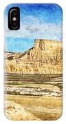 Bardenas Desert Panorama 3 - Vintage Version IPhone Case