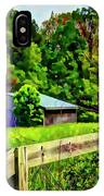 Barn And Fence In Tall Grass IPhone Case