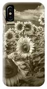 Barn And Sunflowers In Sepia Tone IPhone Case