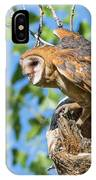 Barn Owl Owlet Climbs Out Of Nest IPhone Case