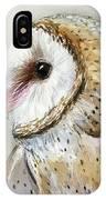 Barn Owl Watercolor IPhone Case by Olga Shvartsur