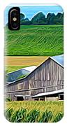 Barn Silo And Crops In Nys Expressionistic Effect IPhone Case