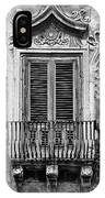 Baroque Balcony Window. Messina, Sicily.    Black And White IPhone Case