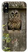 Barred Owl In Nest Box IPhone Case