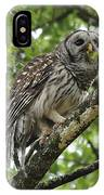 Barred Owl With A Snack IPhone Case