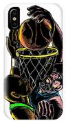 Basketball Player Dunking Blocking Ball Tattoo IPhone Case