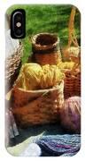 Baskets Of Yarn At Flea Market IPhone Case