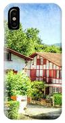 Basque Houses In Ainhoa 2- Vintage Version IPhone Case