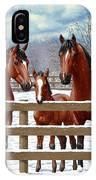 Bay Quarter Horses In Snow IPhone X Case