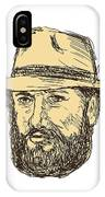 Bearded Cowboy Head Drawing IPhone Case