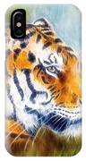 Beautiful Airbrush Painting Of A Mighty Fierce Tiger Head On A Soft Toned Abstract Gres Background  IPhone Case